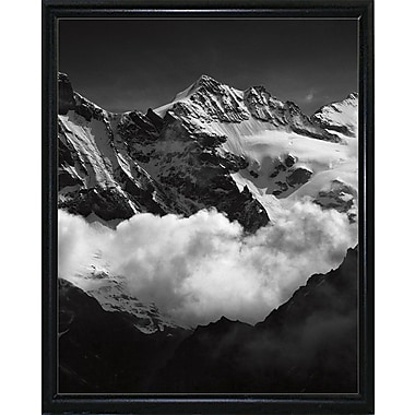 Union Rustic 'Mountains Black and White' Photographic Print; Black Metal Flat Framed Paper