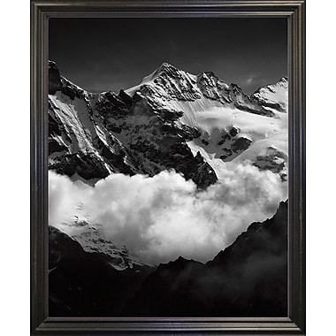 Union Rustic 'Mountains Black and White' Photographic Print; Black Wood Grande Framed Paper