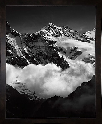 Union Rustic 'Mountains Black and White' Photographic Print; Black Wood Medium Framed Paper