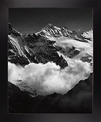 Union Rustic 'Mountains Black and White' Photographic Print; Black Wood Large Framed Paper