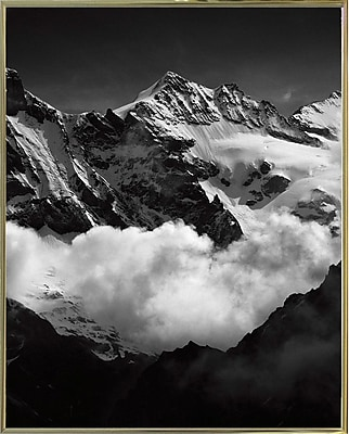 Union Rustic 'Mountains Black and White' Photographic Print; Gold Metal Framed Paper