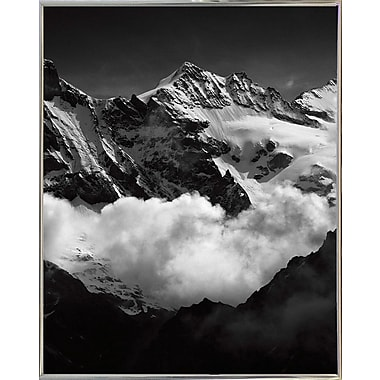 Union Rustic 'Mountains Black and White' Photographic Print; Silver Metal Framed Paper