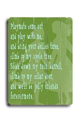 Winston Porter 'Playmate' Textual Art Plaque
