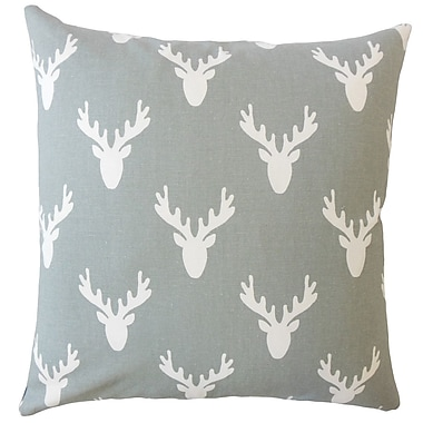 Loon Peak Altha Graphic Down Filled 100pct Cotton Lumbar Pillow; Cool Gray