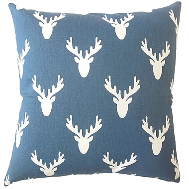 Loon Peak Altha Graphic Down Filled 100pct Cotton Lumbar Pillow; Navy Twill