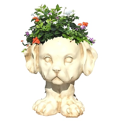 HomeStyles Muggly Muttley the Dog Animal Statue Planter; Antique White
