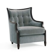 Astoria Grand Exposed Wood Armchair; Blue