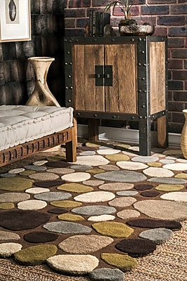Varick Gallery Keshawn Hand-Tufted Brown/Ivory Area Rug; Rectangle 7'6'' x 9'6''