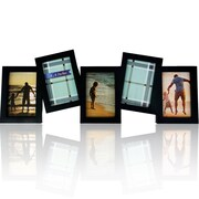 Winston Porter Lanora 5 Photo Collage Multi Dimensional Hanging Picture frame; Black