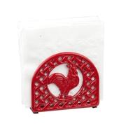 Home Basics Cast Iron Rooster Napkin Holder, Red