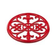 Home Basics Cast Iron Fleur De Lis Trivet, Red