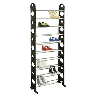 Sunbeam 30 Pair Metal and Plastic Shoe Rack, Black