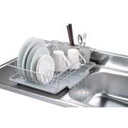 Home Basics 3 Piece Chrome Plated Steel Dish Drainer, Silver