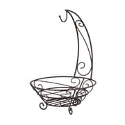 Home Basics Scroll Collection Steel Fruit Basket With Banana Tree, Bronze