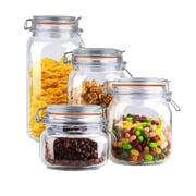 Home Basics 4 Piece Glass Canister Set