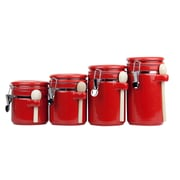Home Basics 4 Piece Ceramic Canister Set with Spoon