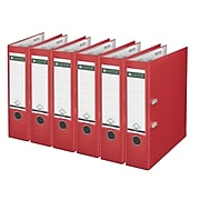 Leitz 2-Ring 3-Inch Premium A4 Sized European Binders 6-Pack, Red (1010PACK-RD)