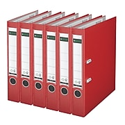 Leitz 2-Ring 2-Inch Premium A4 Sized European Binders 6-Pack, Red (1015PACK-RD)