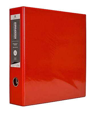 Bindertek 3-Ring 3-Inch Premium Vinyl View Binder, Red (3EDVB3-RD)