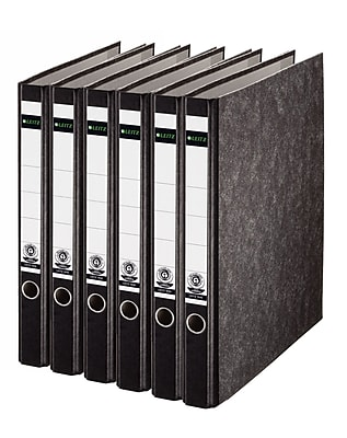 Leitz 2-Ring 1-Inch Premium A4 Sized European Binders 6-Pack, Black (R25PACK)