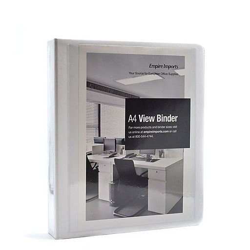 empire imports 4 ring 1 5 inch a4 heavy duty view binder white