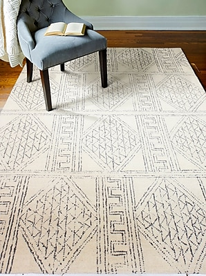Bungalow Rose Glenside Hand-Tufted Wool Ivory/Gray Area Rug; Rectangle 5' x 7'6''