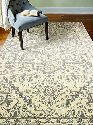 Bungalow Rose Goddard Hand-Tufted Ivory Area Rug; Rectangle 6' x 9'