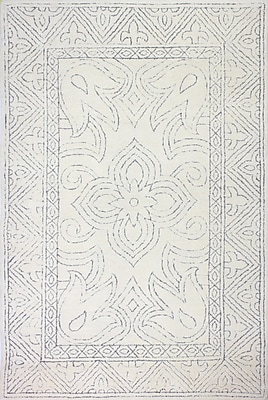 Bungalow Rose Glenside Hand-Tufted Wool Ivory/Gray Area Rug; Rectangle 7'6'' x 9'6''