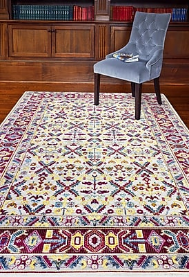 Bungalow Rose Fidela Ivory/Red Area Rug; Rectangle 7'6'' x 9'6''