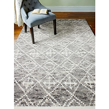 Bungalow Rose Gisselle Hand-Knotted Wool Gray Area Rug; Rectangle 8'6'' x 11'6''