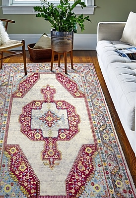 Bungalow Rose Fidela Ivory/Red Area Rug; Rectangle 3'6'' x 5'6''