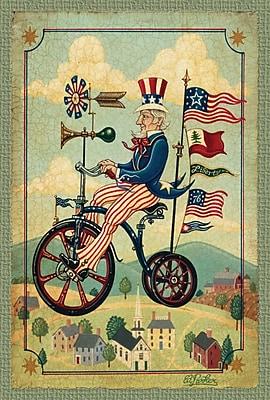 Toland Home Garden Patriotic Bikes 'n Stripes 2-Sided Garden Flag