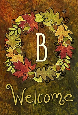 Toland Home Garden Fall Wreath Monogram Garden flag; B