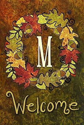 Toland Home Garden Fall Wreath Monogram Garden flag; M
