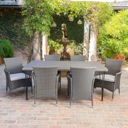 Ophelia & Co. Alassane Outdoor Wicker 7 Piece Dining Set w/ Cushions