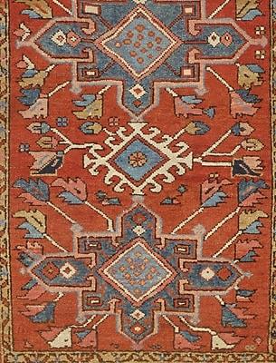 Pasargad NY Serapi Original Persian Hand-Knotted Wool Rust/Navy Area Rug