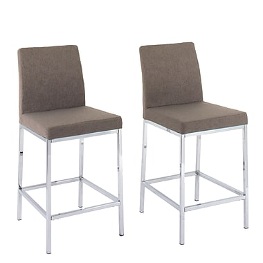 CorLiving Huntington Brown Fabric Bar Stools with Chrome Legs, Counter Height, 2/Set (DDF-134-B)