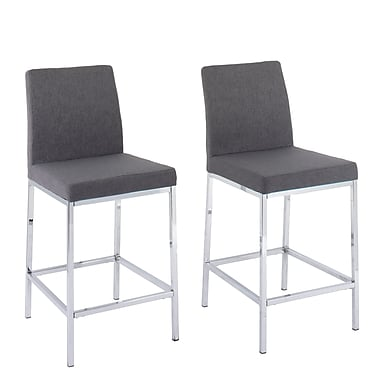 CorLiving Huntington Grey Fabric Bar Stools with Chrome Legs, Counter Height, 2/Set (DDF-164-B)
