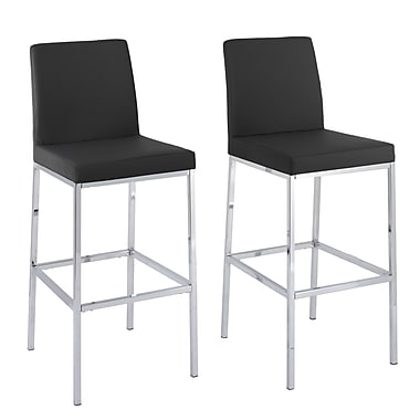 CorLiving Huntington Black Leatherette Bar Stools with Chrome Legs, Bar Height, 2/Set (DDF-193-B)