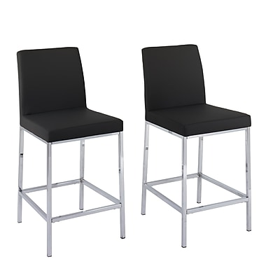 CorLiving Huntington Black Leatherette Bar Stools with Chrome Legs, Counter Height, 2/Set (DDF-194-B)