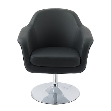CorLiving Mod Modern Bonded Leather Accent Chair, Black and White (DLN-100-C)