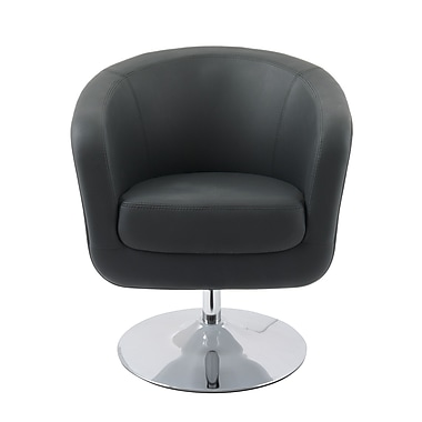 CorLiving Mod Modern Bonded Leather Tub Chair, Black and White (DLN-200-C)