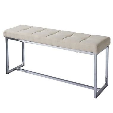 CorLiving Huntington Modern Beige Fabric Bench with Chrome Base (LDF-121-O)