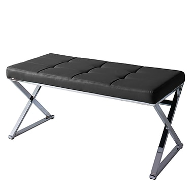 CorLiving Huntington Modern Black Leatherette Bench with X Shape Chrome Base (LDF-302-O)
