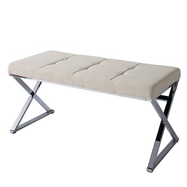 CorLiving Huntington Modern Beige Fabric Bench with X Shape Chrome Base (LDF-321-O)