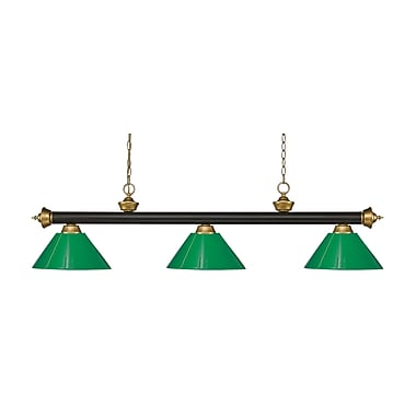 Z-Lite Riviera Island/Billiard Light, Bronze, Green Plastic Shades (200-3BRZ+SG-PGR)