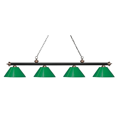 Z-Lite Riviera Island/Billiard Light, Black, Green Plastic Shades (200-4MB+AC-PGR)