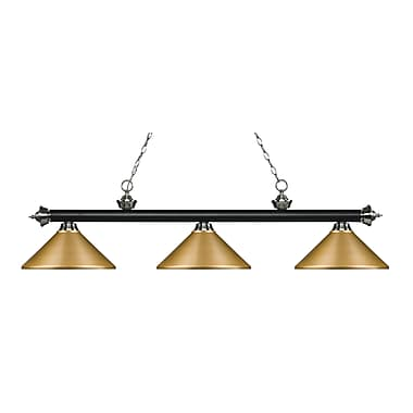 Z-Lite Riviera Island/Billiard Light, Black, Satin Gold Steel Shades (200-3MB+BN-MSG)