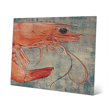 Click Wall Art 'Big Shrimp Looking Right Nautical' Painting Print on Metal; 20'' H x 24'' W x 1'' D