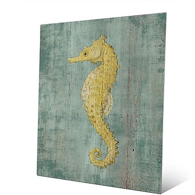 Click Wall Art 'Bright Centered Seahorse Nautical' Painting Print on Metal; 10'' H x 8'' W x 1'' D